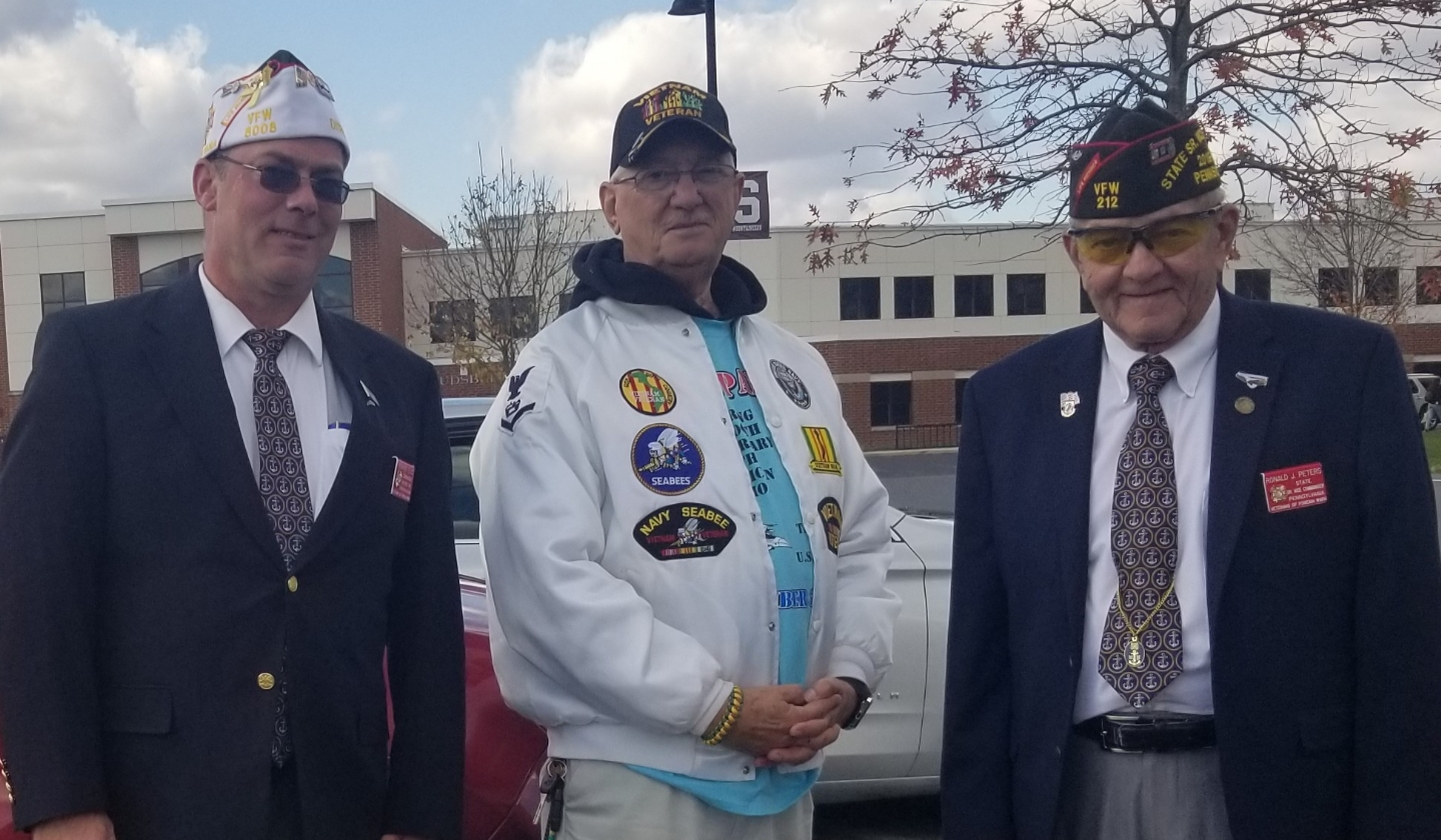 Monroe County Parade Nov 2019, Dist Commander Rick Ellis, Dist QM Byron Miller, and Ron Peters State Sr Vice